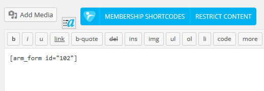 ARMember_form_shortcode_in_page