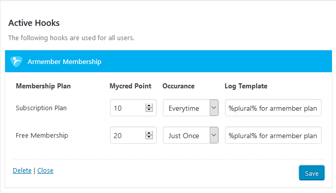 ARMember myCRED Hooks Form Settings